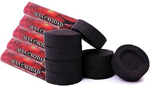 [Pack] Kohlescheiben für Brenner, Weihrauch, Räuchergefäß, Rauch, Shisha, Wasserpfeife, Wasserpfeife, Bong. Langlebig. Für den häuslichen Gebrauch. 3,3 Zentimeter im Durchmesser. (50)