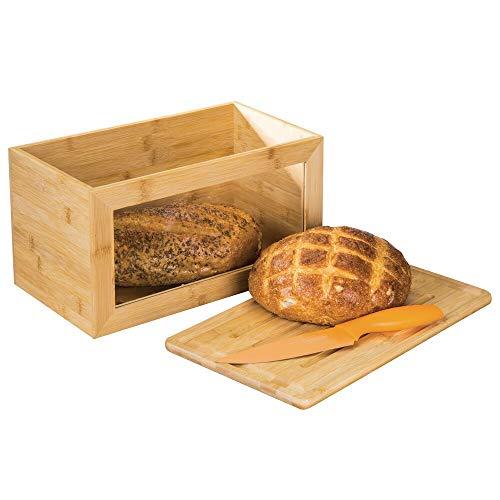 mDesign Brotkasten aus Holz – Brotbox mit Schneidebrett als Deckel – mit praktischem Sichtfenster – für eine umweltfreundliche und stilvolle Brotaufbewahrung – naturfarben