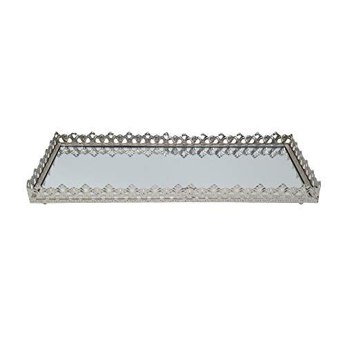DRULINE Spiegeltablett Kerzenteller Dekotablett aus Metall (Silber, Spiegelglas) 39 cm x 17 cm x 4,5 cm