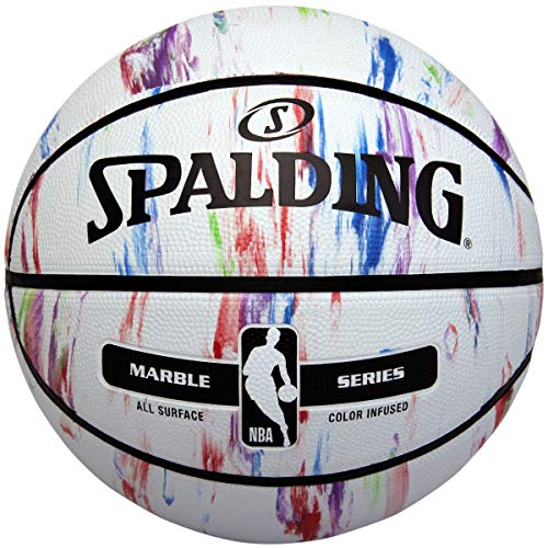 Spalding NBA Marble Series Outdoor Basketball 71146A; Womens,Childrens,Mens basketballs; 71146A_7; White; EU; (7 UK)