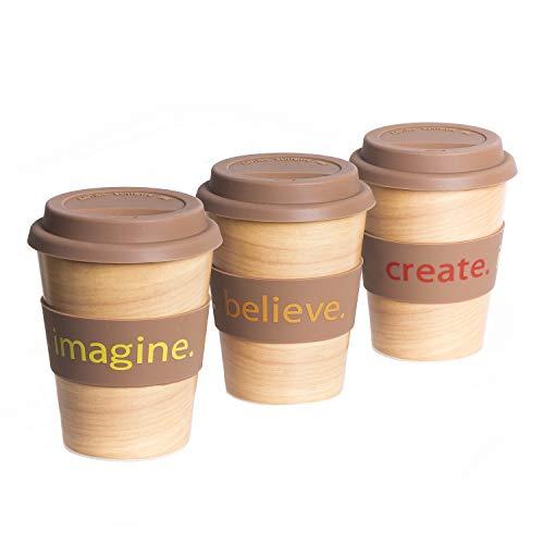 Snipp Kaffeebecher to go Bambus - nachhaltig und BPA frei - Kaffee oder Tee für unterwegs in edlem Design mit inspirierenden Worten - 350ml.