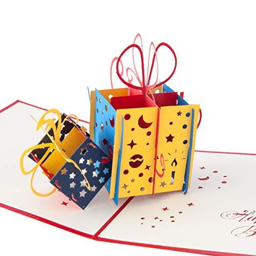 """3D Geburtstagskarte\""""Geschenk mit Schleife\"""", Karte zum Geburtstag, Geburtstagsgeschenk für Frauen, für Männer, Geschenkkarte, kreativ, handgefertigt, mit Umschlag und mit Folie, Pop Up Karte"""