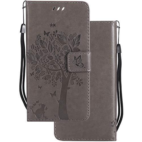 LEMORRY Handyhülle für HTC U11 Hülle Tasche Ledertasche Flip Beutel Haut Slim Bumper Schutz Magnetisch Soft SchutzHülle Weich Silikon Cover Schale für HTC U11, Glücklicher Baum (Grau)
