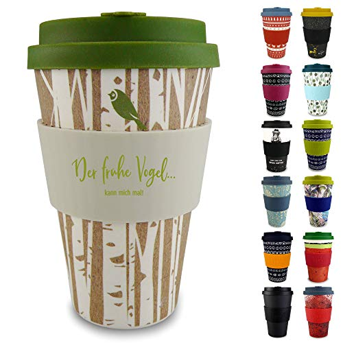 Morgenheld Dein trendiger Bambusbecher | Coffee-to-Go-Becher | Kaffeebecher mit Silikondeckel und Banderole in coolem Design 400 ml (Forest)