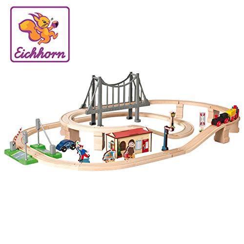 Eichhorn 100001266 - Bahnset mit Brücke und Zubehör, Streckenlänge: 430cm, FSC 100{3ced6c152a13914de6cb5251abda154e62d5de04914420cc0b8f247fac3723a6}, Buchenholz