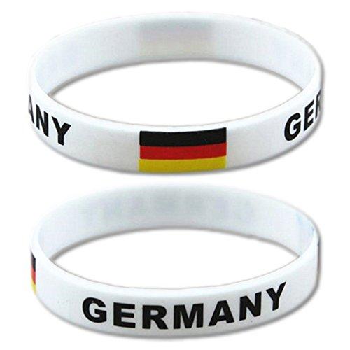 EROSPA® Fan-Armband Fußball Deutschland (Germany) - WM Bundesliga - Damen Herren Unisex - Silikon - weiß/schwarz