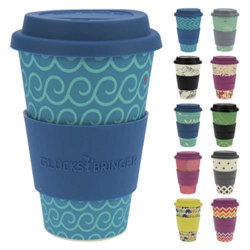 ebos Glücksbringer Coffee-to-Go-Becher aus Bambus   Kaffe-Becher, Trink-Becher   wiederverwendbar, natürliche Materialien, umweltfreundlich, lebensmittelecht, spülmaschinengeeignet (Cool Waves)