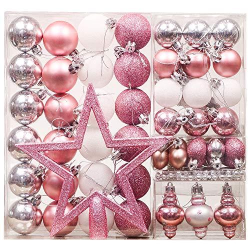 Valery Madelyn Weihnachtskugeln 60tlg 4-20cm Plastik Christbaumkugeln mit Weihnachtsbaumspitze Perlenkette und Aufhänger Weihnachtsdeko Wundervolles Geheimnis Thema Rosa Silber MEHRWEG Verpackung