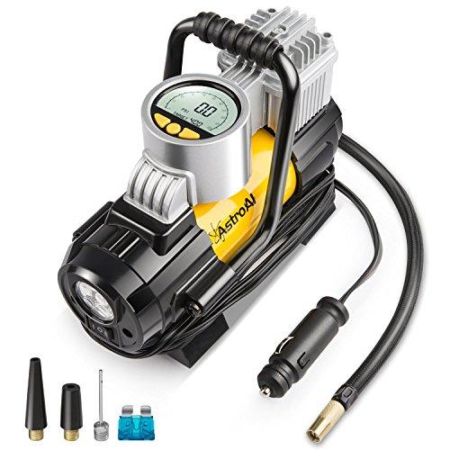 AstroAI Luftkompressor elektrische luftpumpe Mini Kompressor Tragbare Auto Luftpumpe Elektrischer Luftverdichter 12V DC Kompressor mit LCD-Display für Auto Fahrrad und andere Automobile