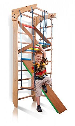 Sportgerät Turnwand Kinder Gym Kinder-3-240-Farbe Klettergerüst Fitness Kletterwand Holz Sprossenwand mit Stange