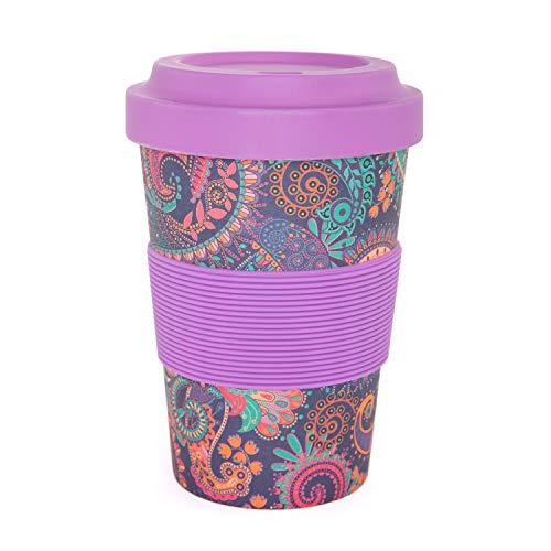 YogiCup2Go, Bambus Coffee-to-go-Becher mit OM-Print, berry, Bamboo-Cup als Mehrweg-Tasse für unterwegs, mit Silikon-Manschette und Schraubdeckel, 475 ml Fassungsvermögen