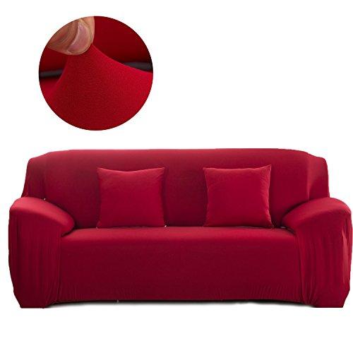 Cornasee Elastischer Sofabezug 3 Sitzer, Sofa-Überwürfe Sofahusse Couchhusse Spannbezug für Sofa mit Armlehne,Rot