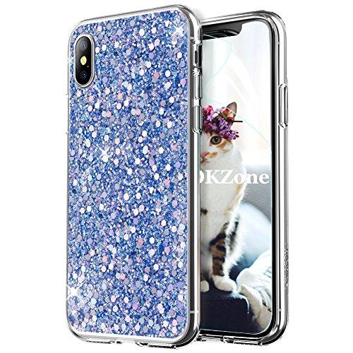 OKZone iPhone X Hülle, Luxus Glitzer Bling Designer Weich TPU Bumper Case Silikon Schutzhülle Handy Tasche Rückseite Hülle Etui Cover TPU Bumper Schale für Apple iPhone X/XS 5.8 Zoll (Blau)