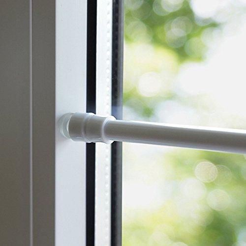 Klemmstange für Fenster Gardine Länge wählbar bis 120 cm, ausdrehbar mit Saugknopf (Weiß 80-120 cm)