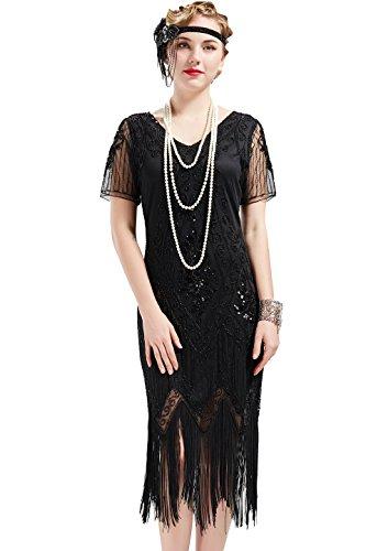 ArtiDeco 1920s Kleid Damen Flapper Kleid mit Kurzem Ärmel Gatsby Motto Party Damen Kostüm Kleid (Schwarz, XL)