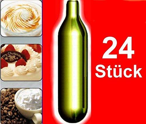 NEMT 24s 24 Stück N2O Sahnekapseln, passend für alle handelsüblichen Sahnebereiter, Sahnespender Cream Whipper Chargers