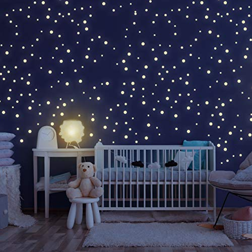 Homery Sternenhimmel 300 Leuchtsterne selbstklebend mit starker Leuchtkraft, fluoreszierende Leuchtsterne Wandtattoo & Wanddeko Aufkleber für Baby, Kinder oder Schlafzimmer (Leuchtpunkte)