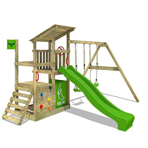 FATMOOSE Spielturm FruityForest Fun XXL Klettergerüst Kletterturm auf 3 Ebenen im Hochsitz-Style mit schrägem Holzdach, Schaukel mit 2 Sitzen, Rutsche und viel Zubehör