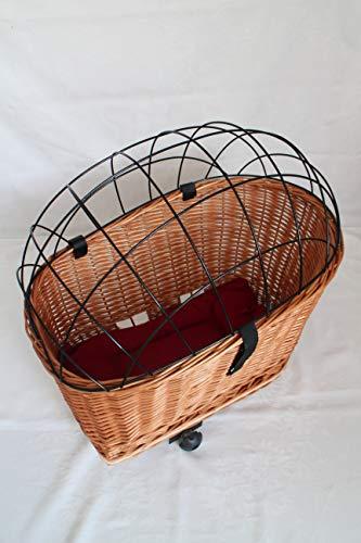 Marcus´ Weidenhandel Hundefahrradkorb für Gepäckträger aus Weide mit Metallgitter und Kissen Gepäckträgerkorb Weidenkorb Fahrradkorb Natur XL oder XXL (XXL mit Kissen)