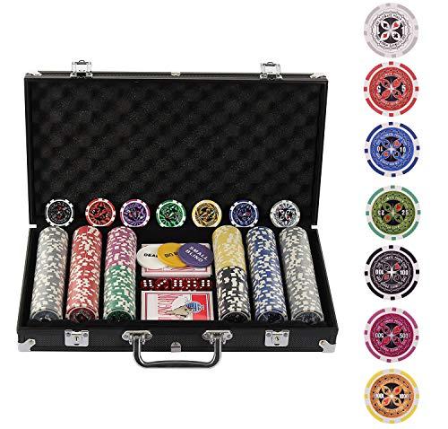 Display4top Pokerkoffer 300 Chips Laser Pokerchips Poker 12 Gramm , 2 Karten, Händler, Small Blind, Big Blind Tasten und 5 Würfel, Schwarz mit Aluminium-Gehäuse