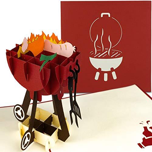 PaperCrush® Pop-Up Karte Grill zum Vatertag - 3D Geburtstagskarte für Männer, Mitbringsel für Grillparty, Grillen - Lustige 3D-Karte für Papa, Vater, besten Freund