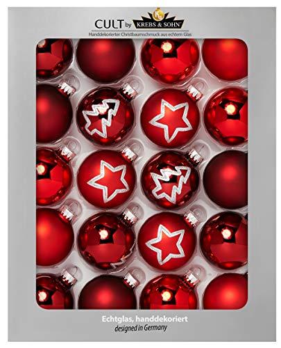 HEITMANN DECO Krebs & Sohn 20er Set Glas Christbaumkugeln - Weihnachtsbaum Deko zum Aufhängen - Weihnachtskugeln 5,7 cm - Rot Sterne