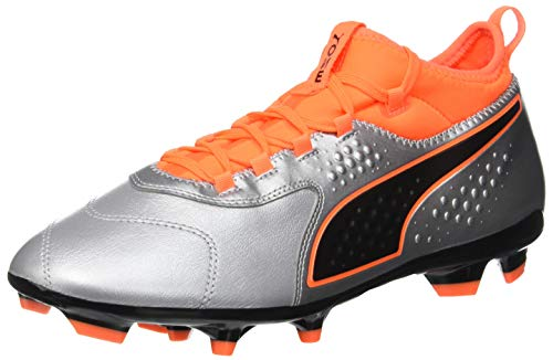 Puma Herren ONE 3 Leather FG Fußballschuhe, Silber Silver-Shocking Orange Black 01, 42 EU
