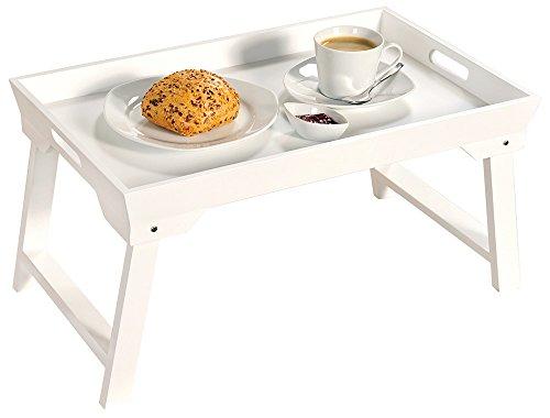 Betttablett Serviertablett faltbar Frühstückstablett mit Klappgestell, weiß Tabletttisch 52 x 32 cm Höhe: 27 cm