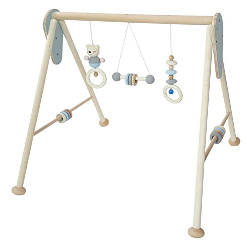 Hess Holzspielzeug 13381 - Babyspielgerät aus Holz, nature blau, ca. 60 x 55 x 55 cm