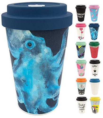 holi. Coffee-to-Go Bambus-Becher mit Schraubdeckel, Verschluss-Möglichkeit | Woodcup Kaffeebecher | Mehrweg-Becher Bamboo-Cup | lebensmittelecht, spülmaschinenfest (Octo Olaf Blue)