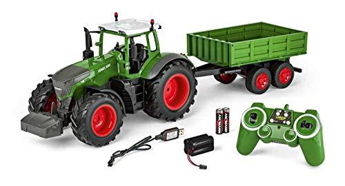 Carson 500907314 - 1:16 RC Traktor mit Anhänger 100{52aabb7732229bdc475bd914d86a4cd30a1ee820d4d9a9bc03743ce30d1d5dc3} RTR, Ferngesteuertes Fahrzeug, Baufahrzeug mit Funktionen Licht und Sound, inkl. Batterien und Fernsteuerung, grün
