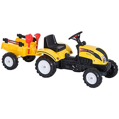 HOMCOM Tretauto Traktor Trettraktor mit Anhänger ab 3 Jahre Spielzeug Kinder Gelb 123 x 42 x 51cm