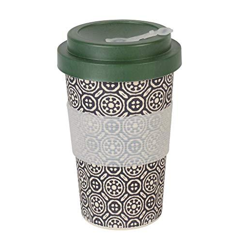 Thermo Rex Kaffeebecher to go Bambus Verschließbar | Bamboo Cup 400ml Schwarz | Umweltfreundliche Trinkbecher Alternative | Moderner Bambus Becher to go