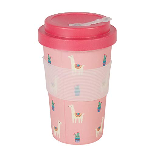 Thermo Rex Bamboo Cup 350ml | Pinker Bamboo Becher Lama Design | Einwegbecher Alternative | Idealer Kaffeebecher to go | Trinkbecher Auslaufsicher