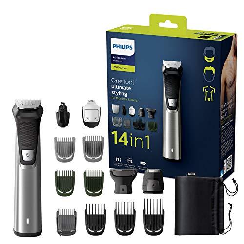 Philips MG7745/15 Multigroom Series 7000, 14 Aufsätze für Gesicht, Haare und Körper, Metalltrimmer, wasserfest, 180min Akkulaufzeit