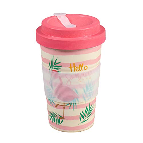 Thermo Rex Bamboo Cup Flamingo 350ml | Bambus Becher Flamingo Design | Rosa Flamingo Becher | Idealer Teebecher & Coffee to go Becher | Pappbecher Alternativ