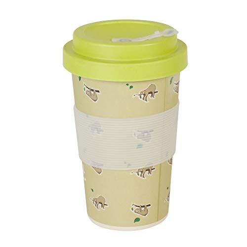 Thermo Rex Bamboo Cup Faultier 350ml | Bambus Becher Faultier Design | Grüner Kaffeebecher to go | Trinkbecher Auslaufsicher | Einwegbecher Alternative