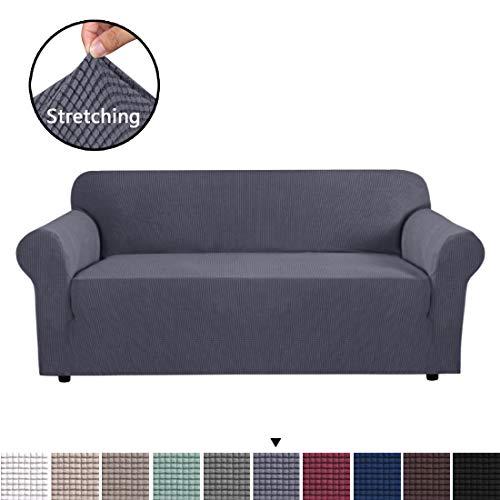 BellaHills Sofa Cover Grau Sofa Schonbezug 3-Sitzer Sofa Cover Schonbezug Easy Stretch Fit elastischer Stoff Couch Sofa Protector Slip Cover Waschbar