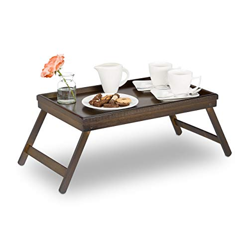 Relaxdays Betttablett Bambus, klappbare Beine, erhöhter Rand, Frühstückstablett fürs Bett, HBT: 22x64x31cm, dunkelbraun