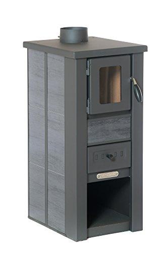 acerto 20111 LAVA Kaminofen Ceramic anthrazit mit Sichtfenster, 35x44x82 cm – Kompakter Premium Holzofen für kleine Räume mit 8,5kW Heizleistung