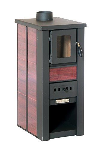 acerto 20119 LAVA Kaminofen Ceramic rot mit Sichtfenster, 35x44x82 cm - Kompakter Premium Holzofen für kleine Räume mit 8,5kW Heizleistung