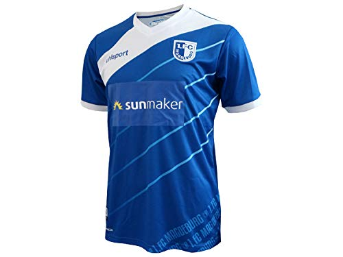 uhlsport 1. FC Magdeburg FCM Heimtrikot 2018 2019 Home Trikot Herren Blau Weiß Gr S