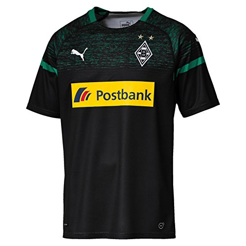 PUMA Herren BMG Away Replica with Sponsor Logo Trikot, Black/Power Green, L