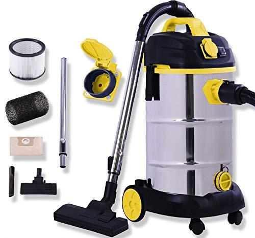 Masko® Industriestaubsauger - gelb, 1800Watt ✓ Mit Steckdose ✓ Blasfunktion ✓ | Mehrzwecksauger Trocken-Saugen & Nass-Saugen | Industrie-Sauger mit & ohne Beutel | Wasser-Staubsauger beutellos