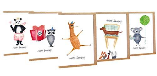 Geburtstagskarte lustig Happy Birthday Tiere 5er Set - Handmade - 100{e5d7e34b9d7b6085cc3f98296556618dc073d09bdd9561a0375dbcc505446fbe} Recyclingpapier – Glückwunschkarten-Set mit Umschlag Geburtstag Geburtstagskarten Glückwunschkarte Grußkarte Geschenkkarte