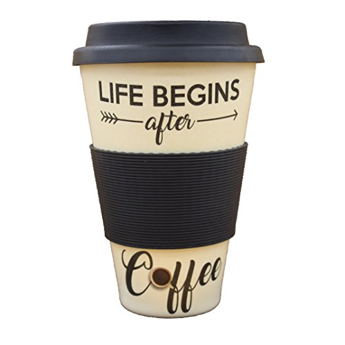 "Bamboo Cup ""Life begins after Coffee"" | 400ml Coffee-to-go-Becher aus echtem Bambus | hochwertiger mehrweg-Kaffeebecher für Kaffee & Tee - perfekt für unterwegs (creme-weiß)"