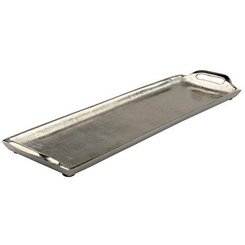 MACOSA HOME Edles silbernes rechteckiges Tablett mit Griffen aus Aluminium/für Dekoration Kerzenteller Servierplatte Tisch-Dekoration Obst-Tablett
