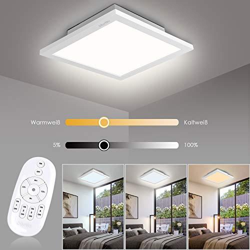 Albrillo 20W LED Deckenleuchte Panel | Dimmbar Deckenlampe mit Einstellbar Farbtemperatur | inkl. Aluminiumrahmen und Fernbedienung | Schlafzimmer Wohnzimmer Küche geeignet | IP20, 30x30x5cm