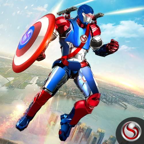 Superheld-Kämpferkapitän, der Robotersoldaten fliegt