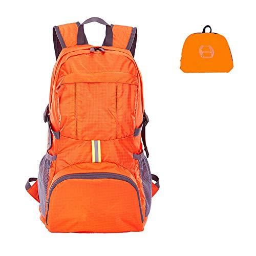 Kyerivs 35L Ultraleicht Faltbare Wanderrucksack, Multifunktionale Wasserdichte Camping Rucksack für Bergsteiger, Orange